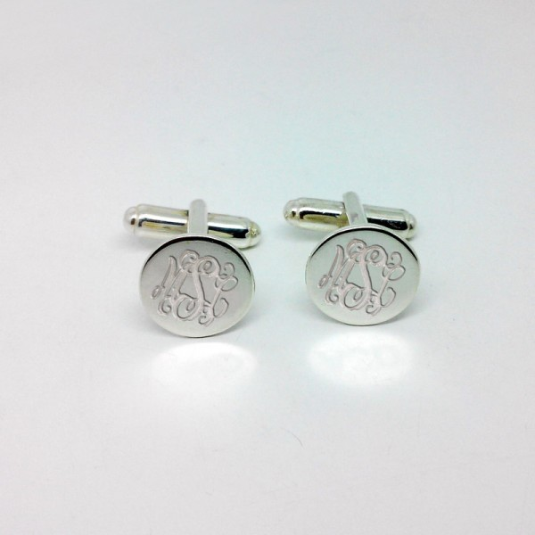 Silver Men CuffLinks,Groom Wedding Gift,Engraved Monogram CuffLinks,Gift for Fathers Day,Elegant Monogrammed Cufflinks