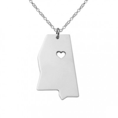 Silver Mississippi State Charm Necklace,MS State Necklace,Mississippi State Necklace,State Shaped Necklace Custom Necklace With A Heart
