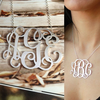 Silver Monogram Necklace,3Initial Monogram Necklace,1.25 inch Personalized Necklace,Custom Any Letter Necklace,Christmas Gift-%100 Handmade