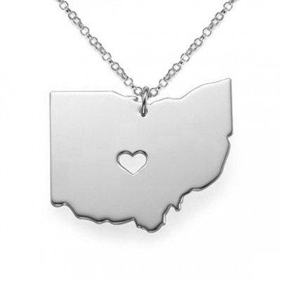 Silver Ohio State Necklace,OH State Shaped Necklace with A Heart,Ohio Map State Charm ,Personalized OH State Necklace Sterling Silver