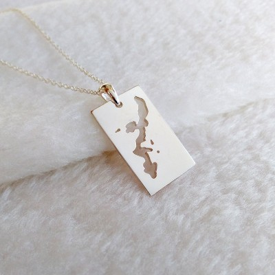 Silver Okinawa Necklace,Japan Necklace,Personalized Map Necklace,Custom Any Map Necklace,Specific Map Necklace,Worldwide Map Necklace