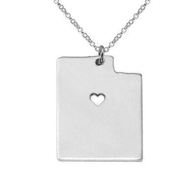 Silver UT State Necklace,Utah State Necklace,Personalized Utah State Necklace ,State Shaped Necklace With A Heart-%100 Handmade