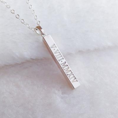 Silver Vertical Bar Necklace,Engraved Coordinates Necklace,Silver Long Bar Necklace,Silver Bar Necklace,Custom Latitude Longitude Jewelry