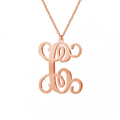 """Single Initial Necklace, Rose Gold Plated Initial Necklace,Personalized Initial Necklace,1"""" inch One Letter Necklace-%100 Handmade"""