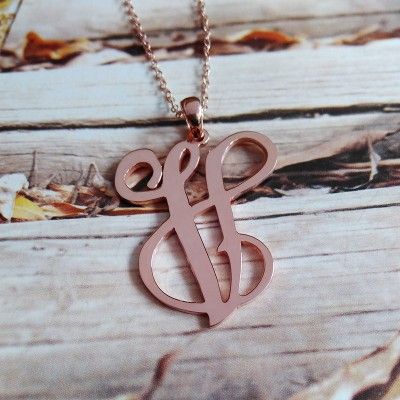 Single Initial Necklace,Rose gold One Letter Necklace,Personalized Monogram Initial Necklac,Carmen Electra Style