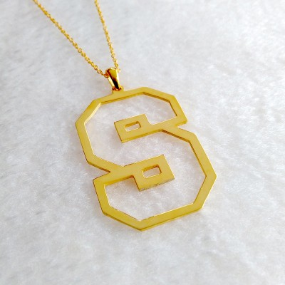 Single Initial Outline Necklace,Gold Outline Necklace,Outline Letter Necklace,Single Letter Necklace,Letter Necklace,Single Initial Necklace