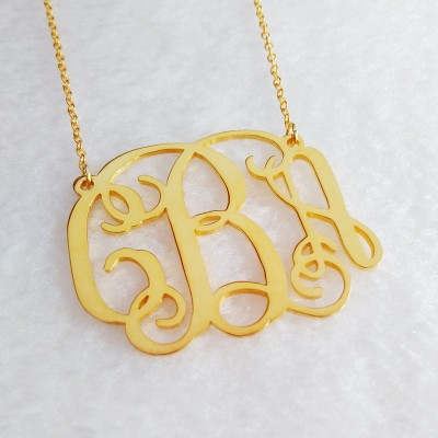 Small Gold Monogram Necklace,Gold Initial Monogram Necklace,1 inch Personalized Necklace,Nameplate Necklace,Letter Necklace Christmas Gift