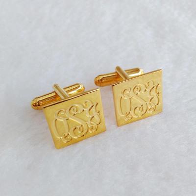 Square Cufflinks for Groom,Personalized Rectangle Cufflinks,Wedding Cufflinks,Engraved 3 Initials CuffLinks,Elegant Monogrammed Cufflink