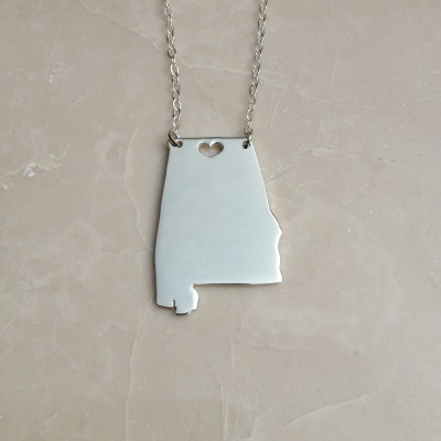 Sterling Silver Alabama State Necklace Personalized State Necklace AL State Charm Necklace State Shaped Necklace  With A Heart