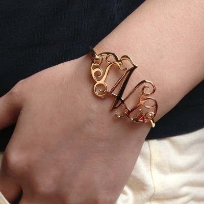 Sterling Silver Monogram Bracelet,1.5 Inch Initial Monogram Bracelet,Custom Bracelet,Bridesmaid Gift,Name Bracelet-%100 Handmade