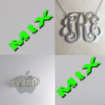 """Sterling Silver Monogram Necklace MIX Initial Monogram Earings-3 Initials Necklace 1.25""""Personalized Necklace Christmas Gift Custom Jewelry"""