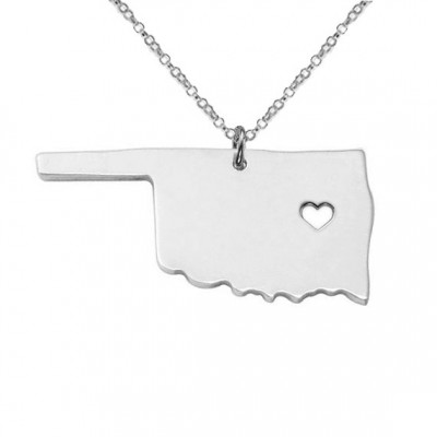 Sterling Silver Oklahoma Necklace OK State Charm Necklace State Shaped Necklace Personalized State Necklace State Jewelry With A Heart