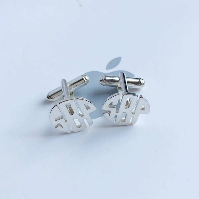 Three Initials Monogram Cufflinks,Personalized Wedding Cufflinks,Monogram Cufflink,Groom Wedding Cufflinks,Elegant Monogrammed Cufflinks
