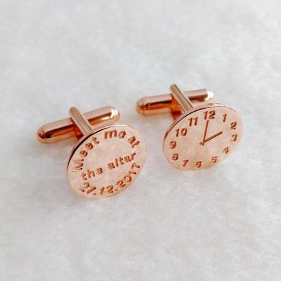 Time Clock Cufflinks,Personalized Meet Me at the Altar Cufflinks,Wedding Groom Cufflinks,Meet me at Clock Cufflinks,Cufflinks Gift for Him