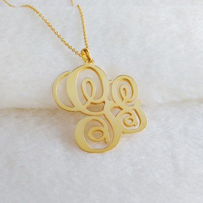 Two Initial Monogram Necklace,Personalized Monogram Necklace,Gold Initial Necklace,Gold Monogram Necklace,Nameplate Necklace,Christmas Gift