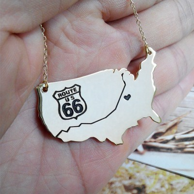 """US Route 66 Travel Map Necklace 2""""inch State Charm Necklace State Shaped Necklace Personalized State Necklace Custom Necklace With A Heart"""