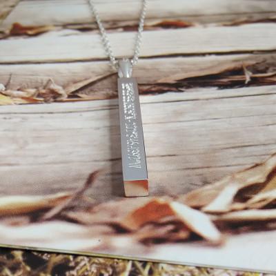 Vertical Bar Necklace,Engraved Coordinates Necklace,Silver Long Bar Necklace,Silver Bar Necklace,Custom Latitude Longitude Jewelry