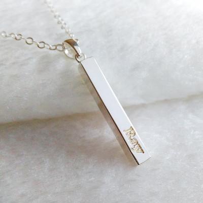 Vertical Bar Necklace,Silver Name Bar Necklace,Engraved Coordinates Necklace,Silver Long Bar Necklace,Custom Latitude Longitude Jewelry