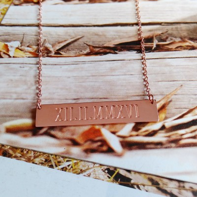 WEDDING DATE Necklace,Roman Numeral Date Necklace,Rose Gold Due Date Necklace,Horizontal Bar Necklace,Engraved Bar Necklace,Love Necklace