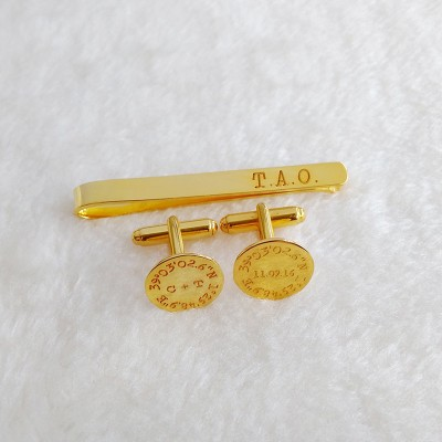 Wedding Cufflinks and Tie Clip Set,Tie Clip and Cufflinks,Engraved Cuff Links and Tie Clip,Groom Wedding Gift,Gift for Fathers Day