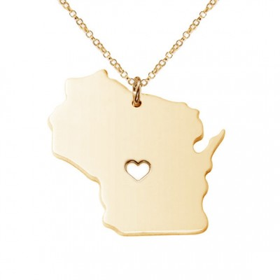 Wisconsin State Necklace,WI State Charm Necklace,Personalized Wisconsin State Necklace,State Shaped Necklace With A Heart