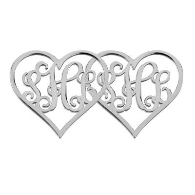"sterling silver Monogram Earrings,Personalize Earings any 3 initial Monogram Earings,0.6""inch Heart shaped Monogram Earrings %100 Handmade"