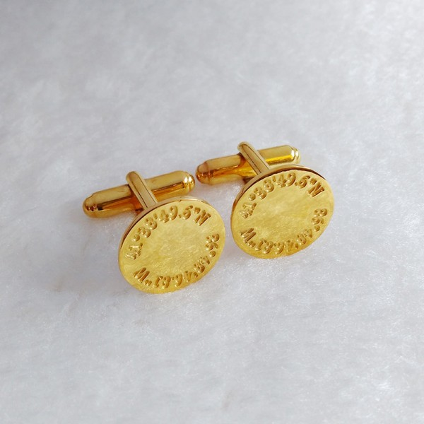 Personalized Coordinates Wedding Cufflinks,Engraved