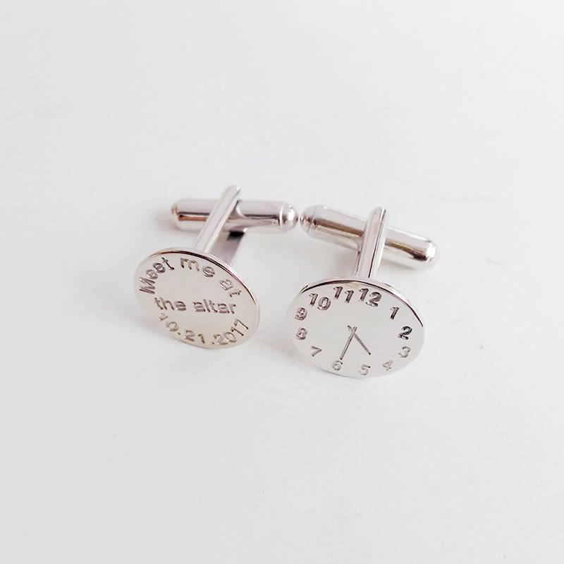 Wedding Altar Meet The Parents: Time Clock Cufflinks,Meet Me At The Altar Date,Meet Me At