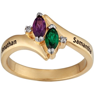 Personalized Diamond Accent Couple's 18kt Gold Marquise Birthstone and Name Ring