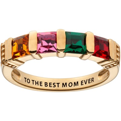 Personalized Mother's 18kt Yellow Gold Square 4-Birthstone Ring