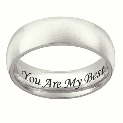Personalized Sterling Silver Wedding Band, 7mm