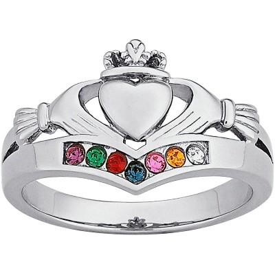 Personalized Sterling Silver or 14K Gold over Silver Family Birthstone Claddagh Ring