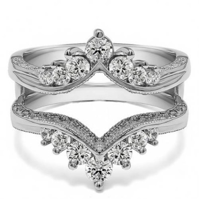 Personalized TwoBirch Women's Chevron Style Ring Guard with Millgrained Edges and Filigree Cut-Out Design