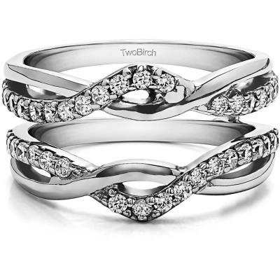 Personalized TwoBirch Women's Criss Cross Infinity Ring Guard Enhancer