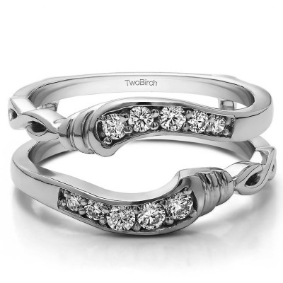 Personalized TwoBirch Women's Infinity Bypass Wedding Ring Guard