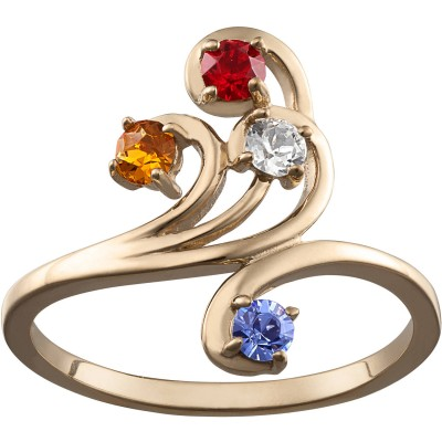 Personalized Women's Gold over Silver Family Birthstone Swirl Ring