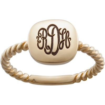 Personalized Women's Gold over Silver Petite Monogram Square Swirl Band Ring