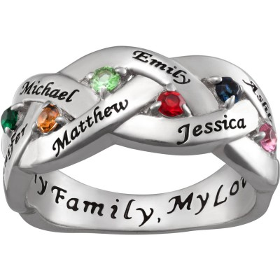 Personalized Women's Sterling Silver Family Name and Birthstone Ring
