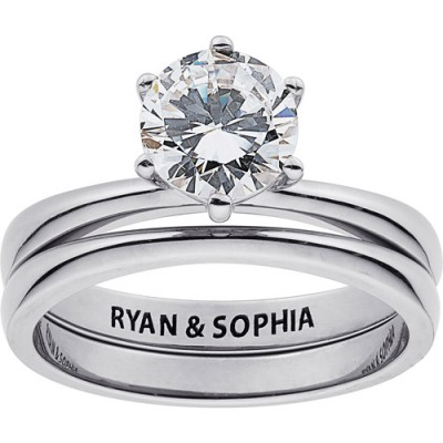 Personalized Women's Sterling Silver Round White Topaz Engraved Wedding Set, 2 Piece