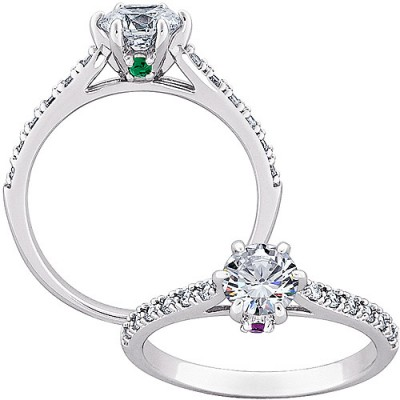Personalized 0.28 Carat T.W. CZ Solitaire with Side Birthstone Accent Bridal Set in Sterling Silver