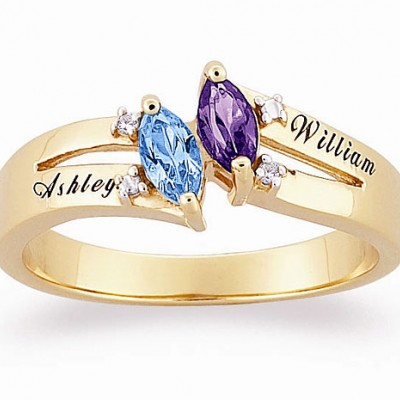 Personalized 18kt Gold Couples' Diamond Accent Birthstone Ring