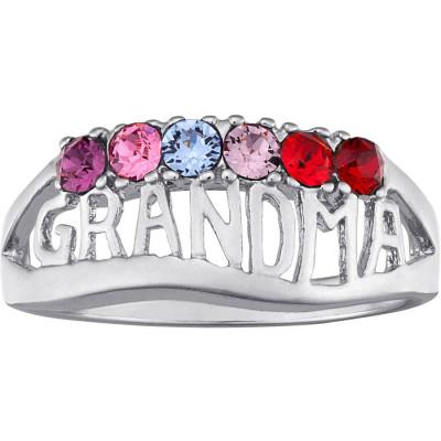 Personalized 18kt White Gold GRANDMA Birthstone Ring