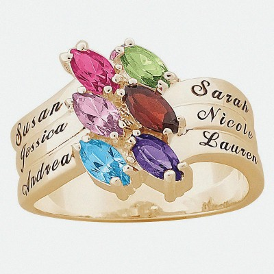 Personalized 18kt Yellow Gold  Family Marquise Birthstone Ring