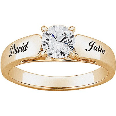 Personalized 1.75 T.G.W. Round CZ Wedding Band in 18kt Gold over Sterling Silver
