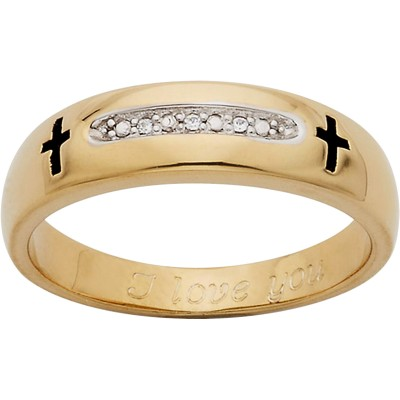 Personalized 18kt Gold over Sterling Silver Diamond Accent Cross Wedding Band