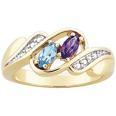 Personalized Couple's Marquise Birthstone Ring with Two-tone Accent