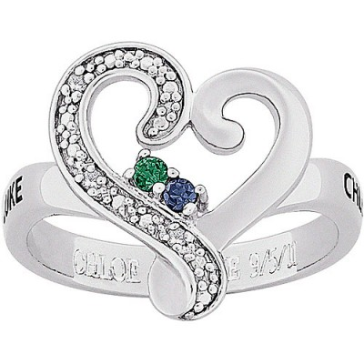 Personalized Couples Name with Genuine Birthstone and Diamond Accent Engraved Ring in Sterling Silver