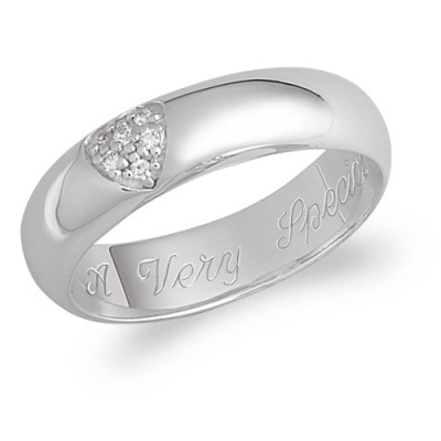 Personalized Cubic Zirconia Pave-Set Heart Ring