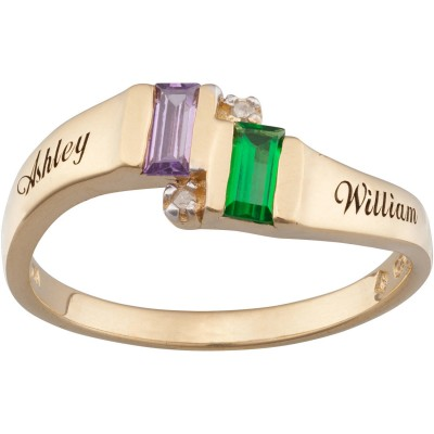 Personalized Gold Overlay Couple's Birthstone Ring