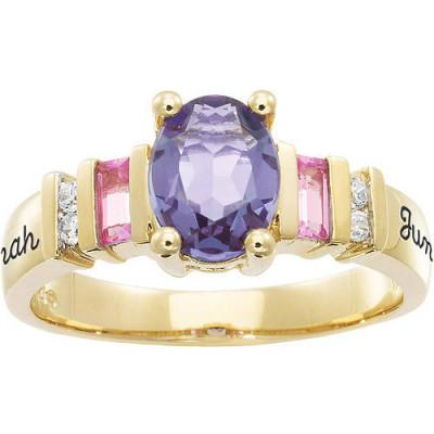 Personalized Keepsake Gracious Oval Gemstone Ring